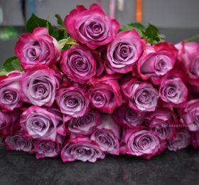 Букет 21 роза на ленте