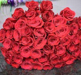 Букет 55 Роз на ленте