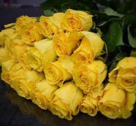 15 жёлтых роз (на ленте)