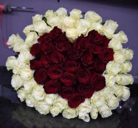 Букет Роз сердце (75 роз)