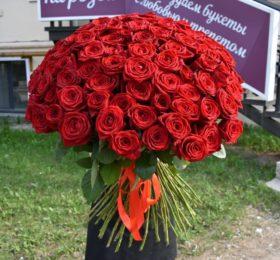 Букет 51 роза на ленте