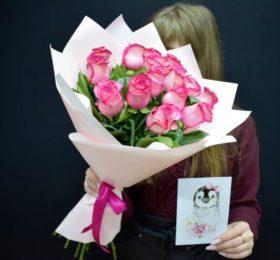 Букет 15 роз + открытка