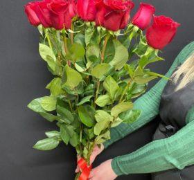 Букет роз 15 шт на ленте ( 90 см )